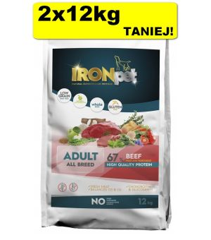 IRONpet BEEF All Breed Adult Wołowina 2x 12kg taniej