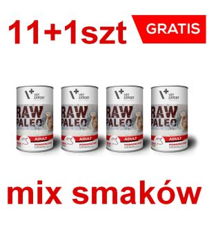 RAW PALEO Adult Dog 400g Mix smaków 11+1 GRATIS
